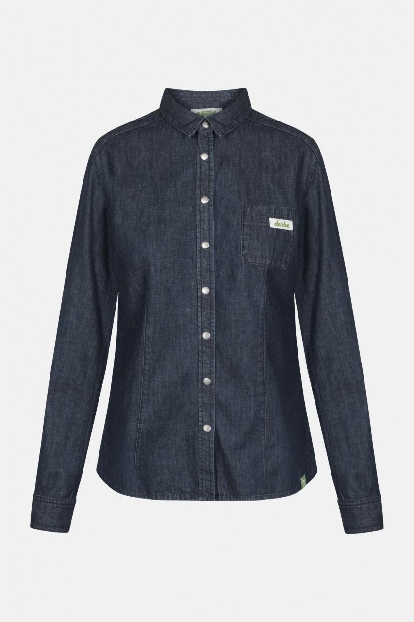 Derbe Donna Denim Gots Organic Navy Damen Hemd Bluse Jeans Blau