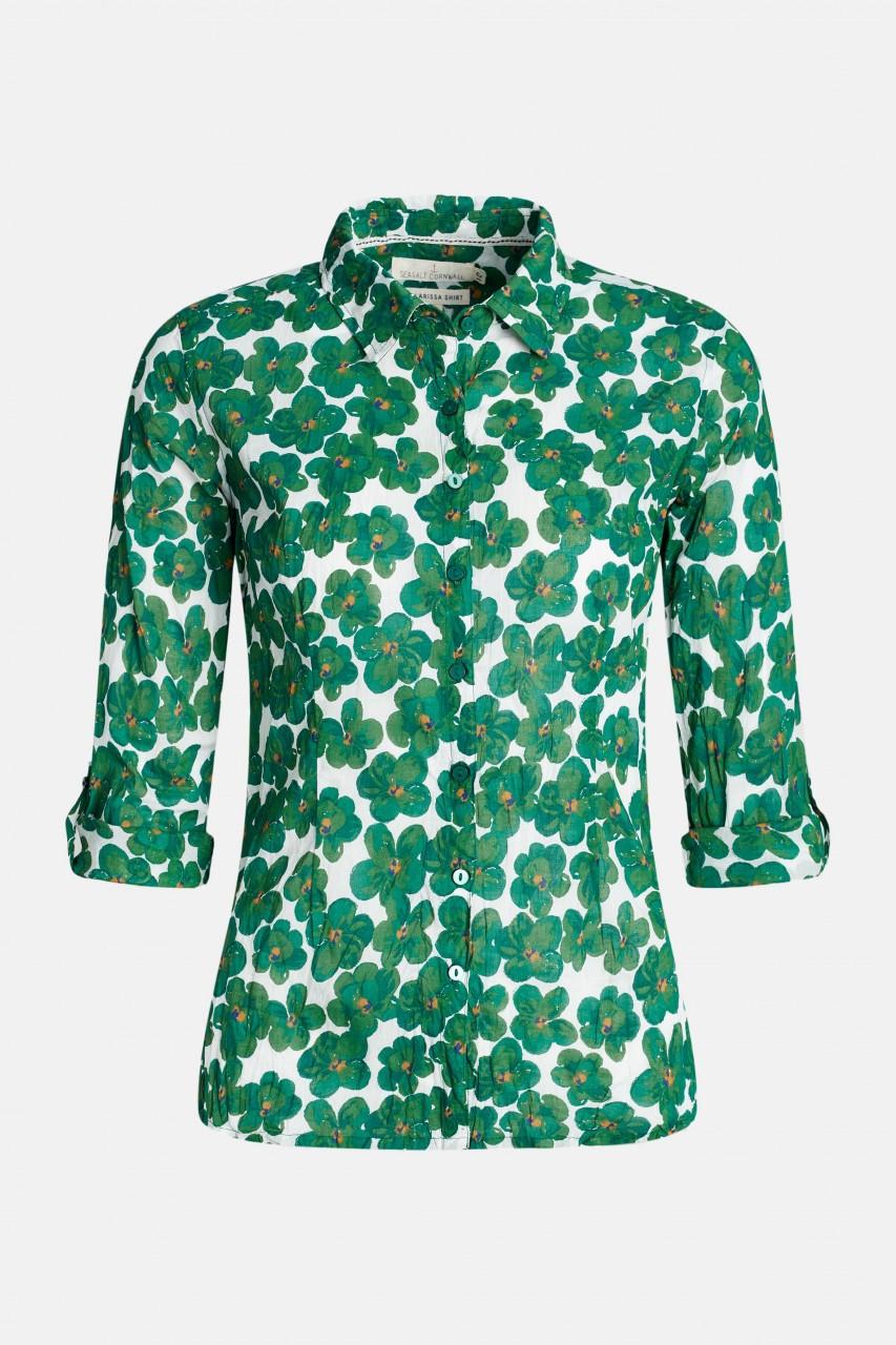 Seasalt Cornwall Larissa Shirt Geranium Flower Damen Bluse Blumen Grün