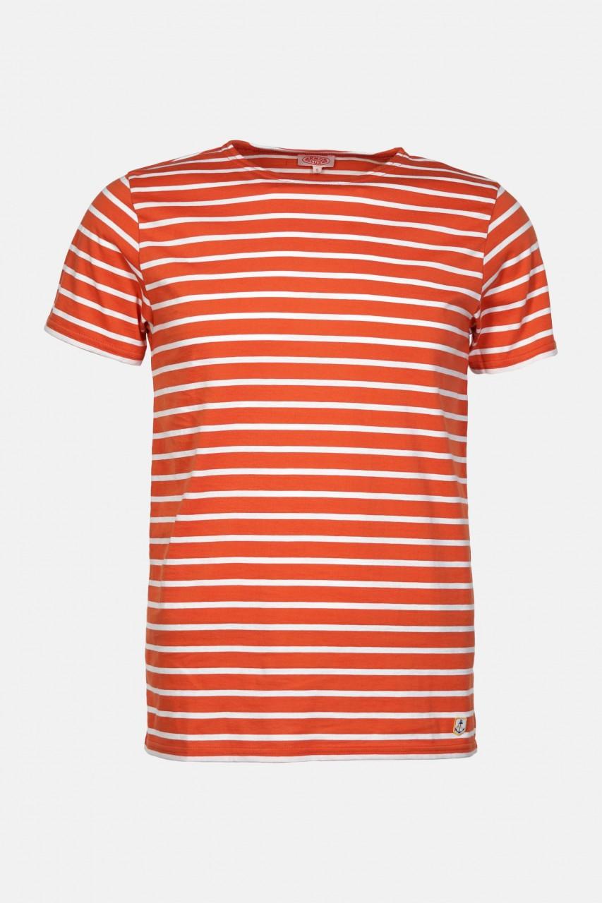 Armor Lux Herren T-Shirt Gestreift Orange Weiß Mariniere Hoedic