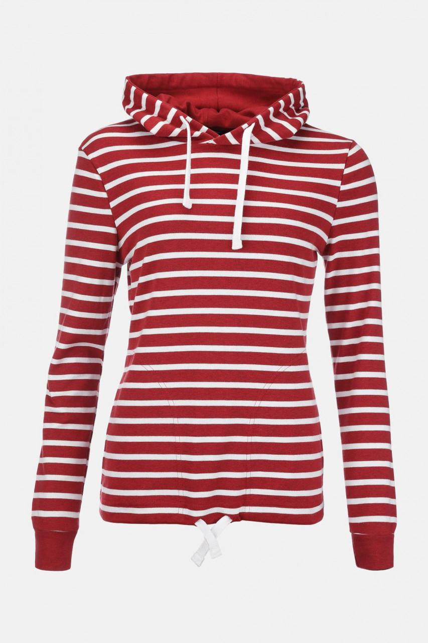Damen Kapuzen-Shirt Rot Weiss Gestreift Baumwolle