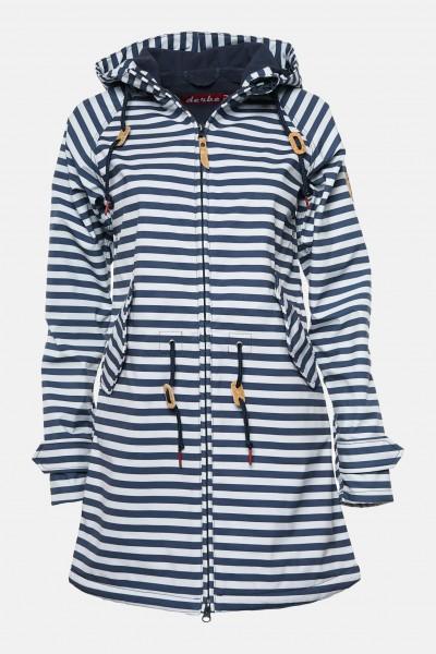 Blau Island Friese Weiß Damen Softshell Gestreift Mantel Derbe derCoBWx