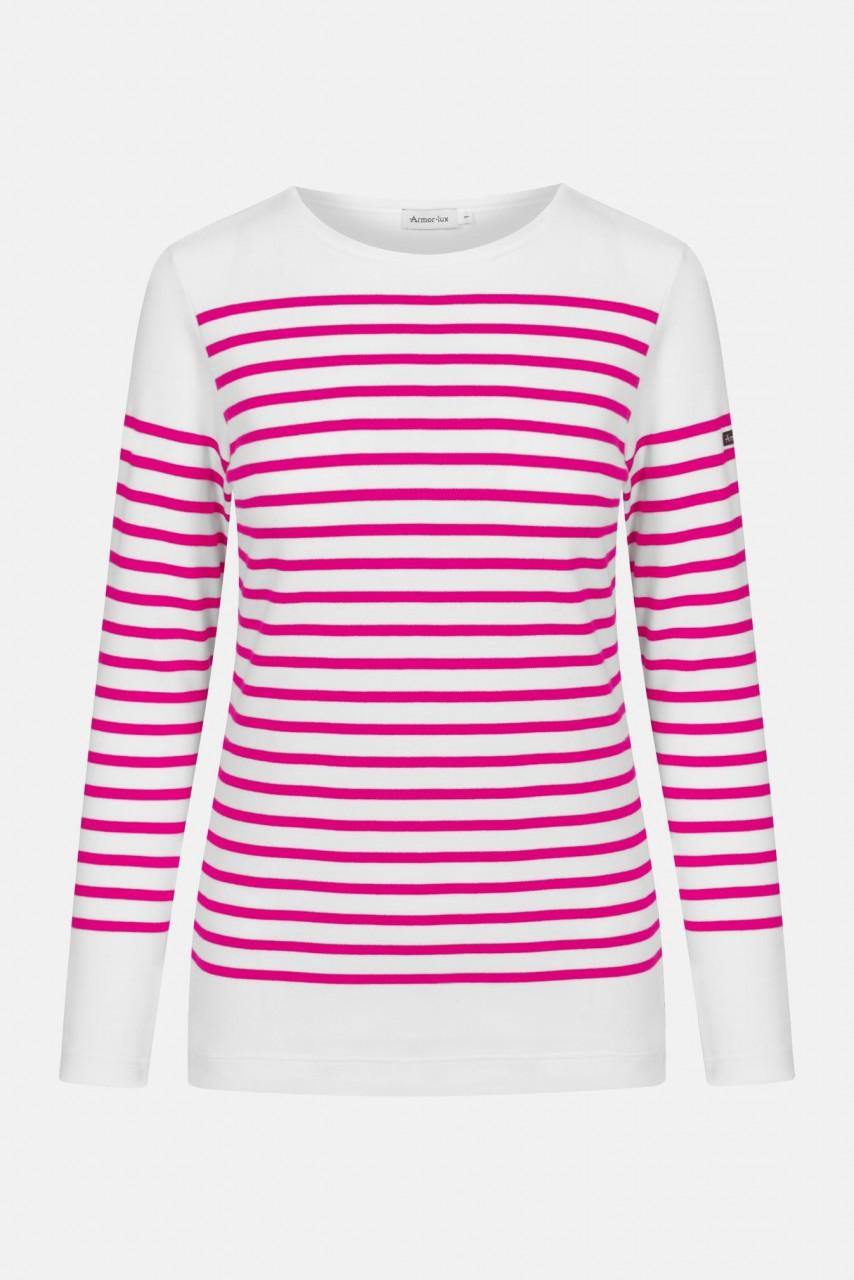 Armor Lux Damen Matrosenshirt Amiral Weiß Azalea Pink