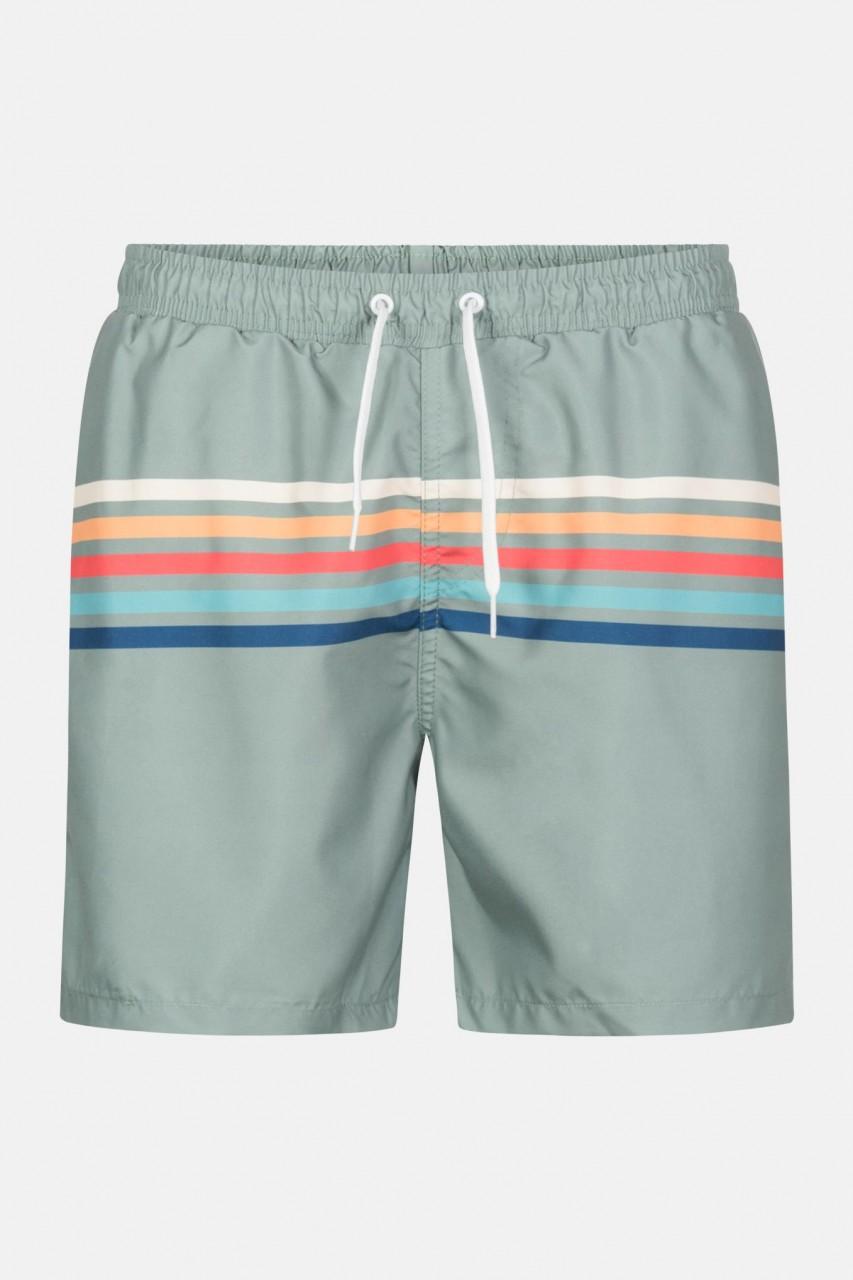 RVLT Revolution RAI Swim Shorts Lightgreen Herren Badehose Grün Streifen