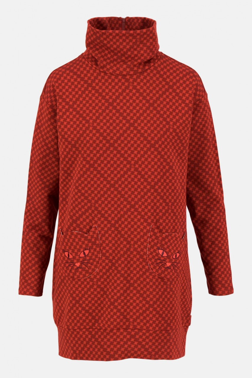 Blutsgeschwister Fall and Friends Long Sweater Damen Pullover Suitcase Rot