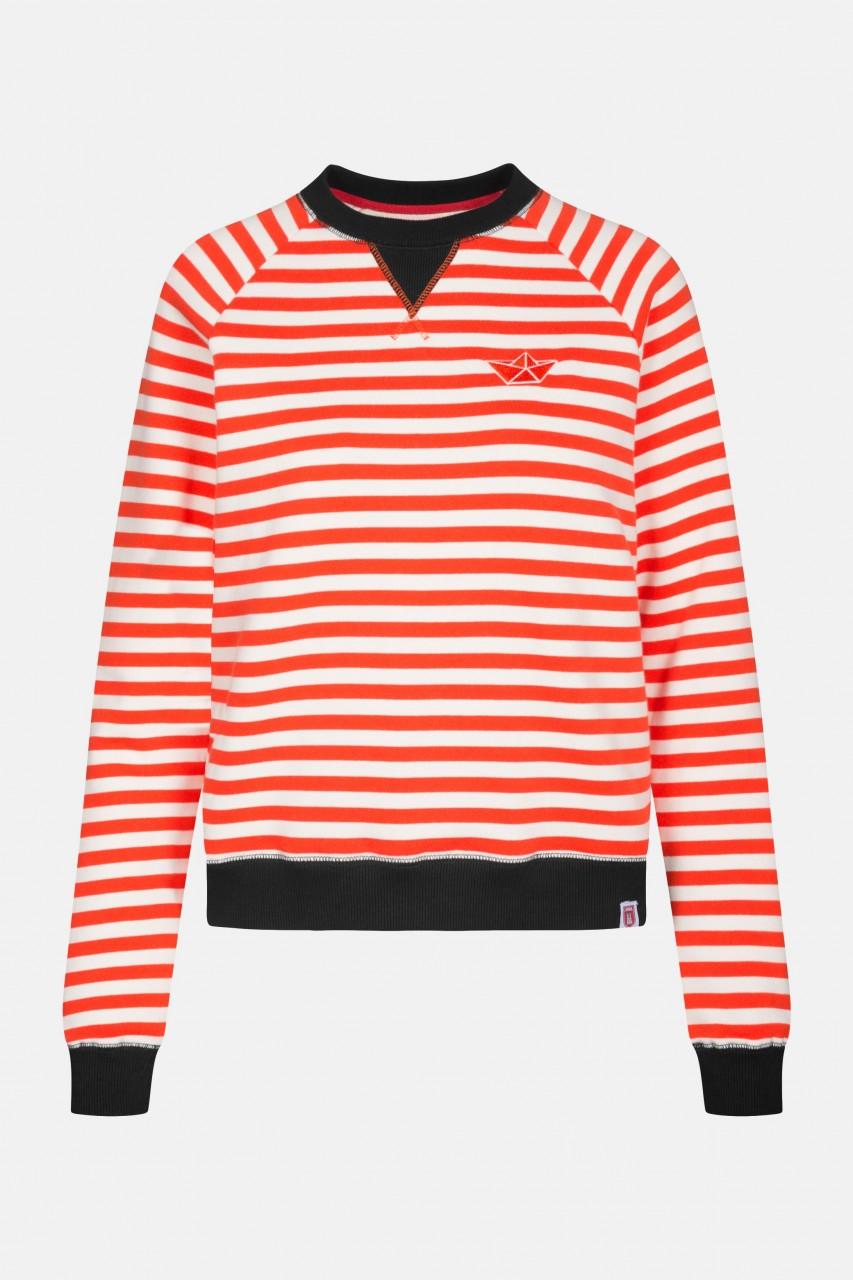 Derbe Sea Crew Damen Pullover Cherry Tomato Rot Weiß Gestreift