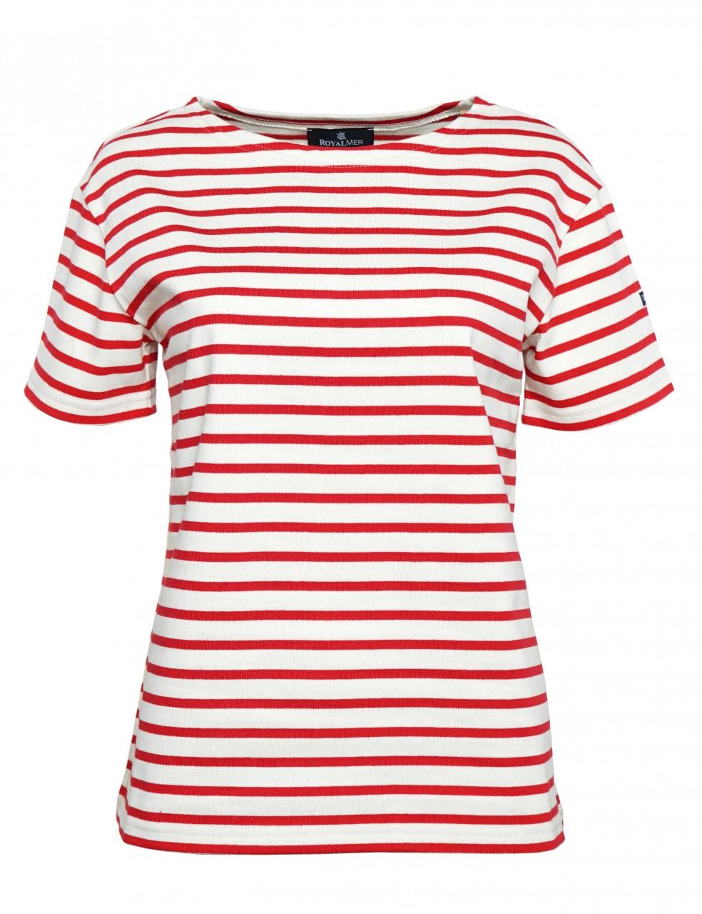 Royal Mer Streifenshirt Damen Kurzarm Natur-Rot