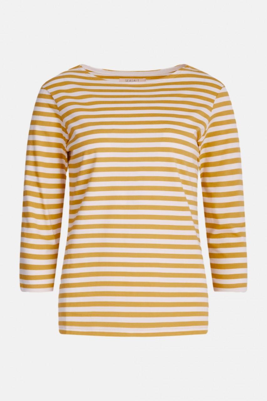 Seasalt Cornwall Sailor Top Mini Cornish Hay Chalk Damen Streifenshirt Weiß Gelb Gots