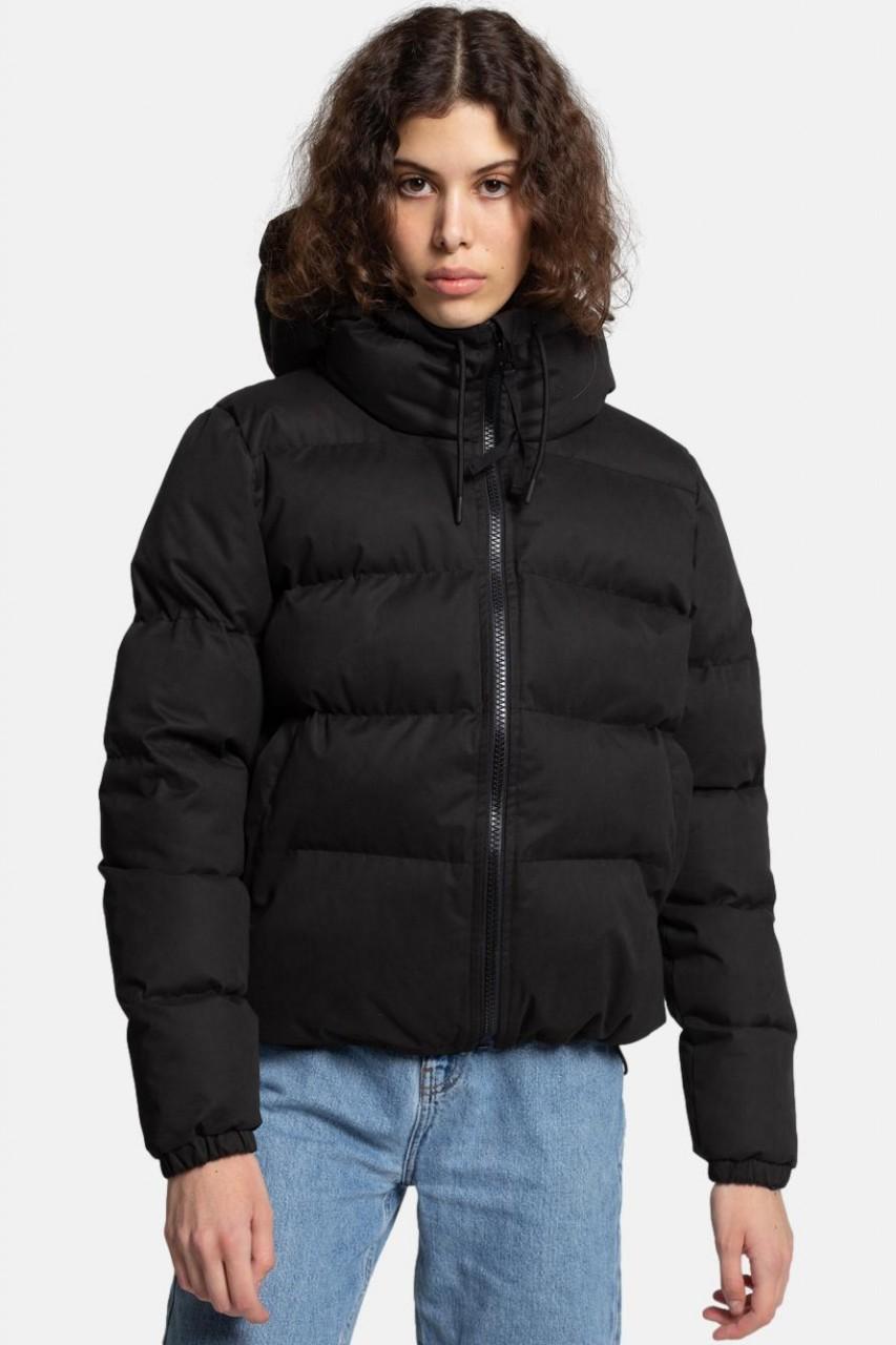 Selfhood Hooded Puffer Jacket Damen Winterjacke Schwarz Kurz