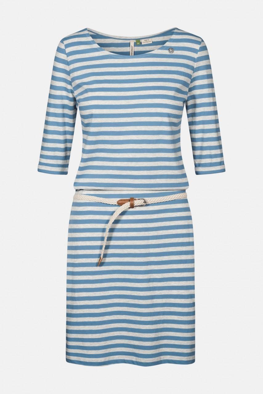 ragwear tamy organic damen kleid streifen blau