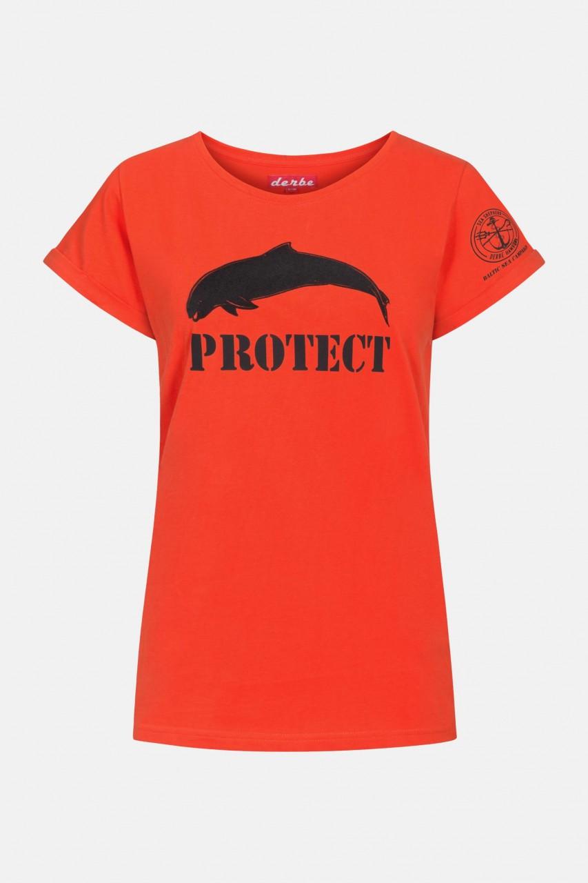 Derbe Porpoise Damen Shirt Gots Organic Sea Shepherd Cherry Tomato Rot Wal