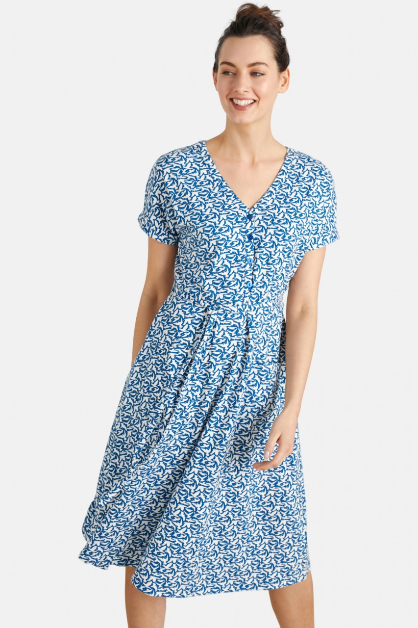 Seasalt Cornwall Coastwatch Dress Birds Damen Kleid Blau Weiß Vögel