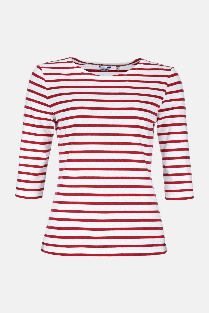 Streifenshirt Damen 3/4-Arm Weiß-Rot Gestreift Ringelshirt