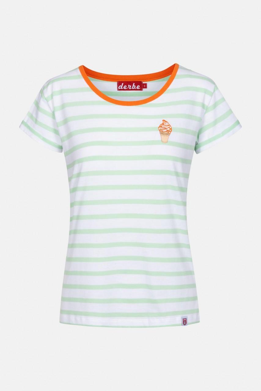 Derbe Ice Striped Damen T-Shirt Gestreift Grün Orange Eis