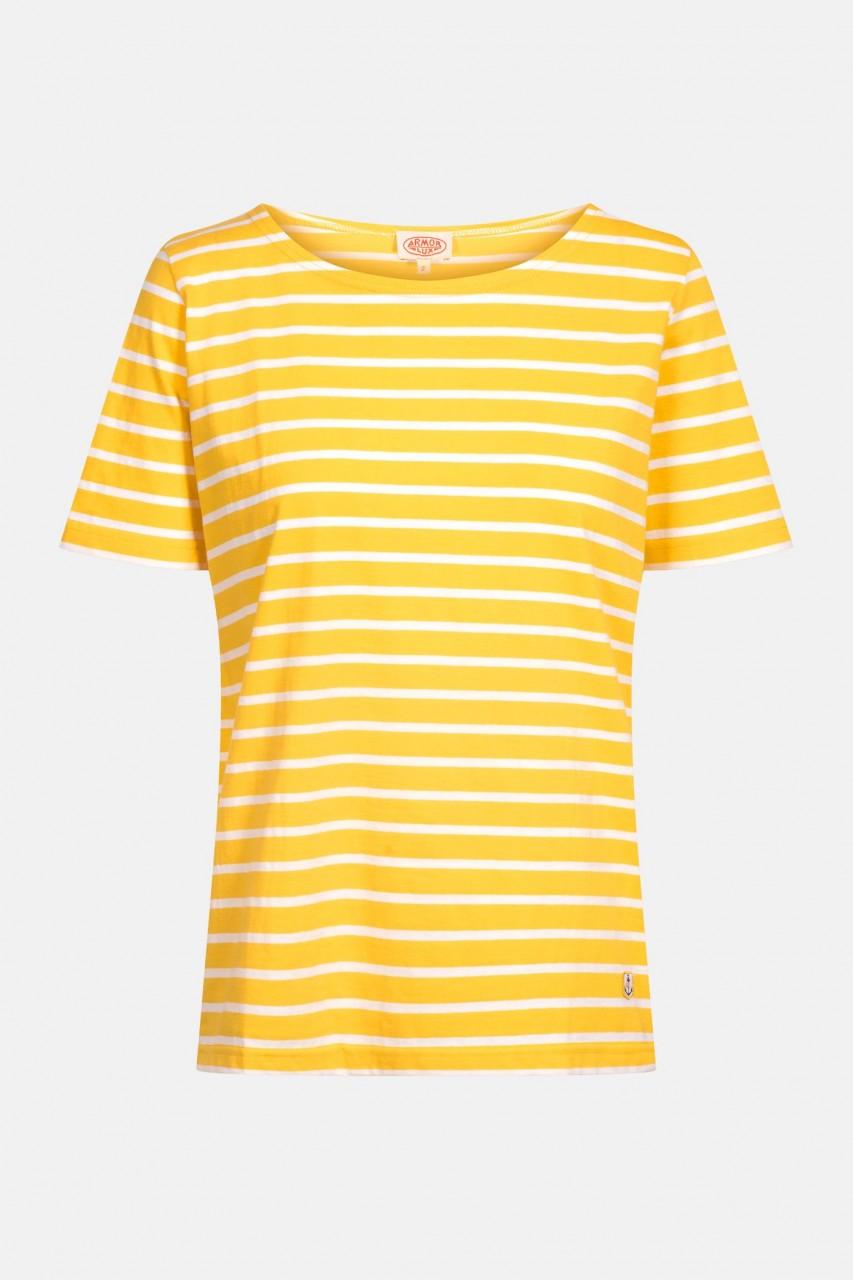 Armor Lux Damen T-Shirt Gestreift Gelb Mango Weiß Mariniere Hoedic