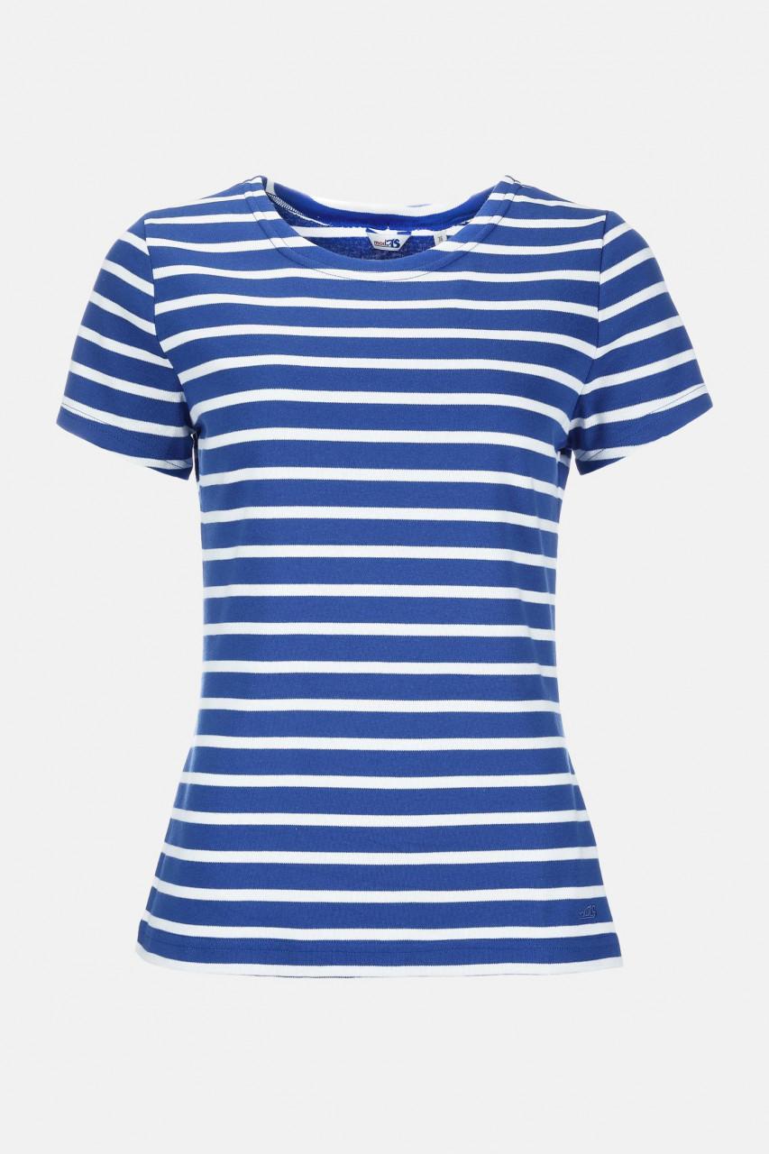 Streifenshirt Damen Kurzarm Royal-Weiß Gestreift Ringelshirt