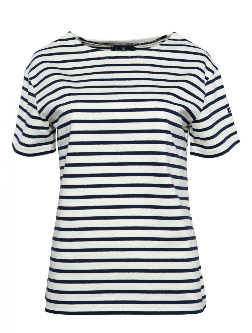 Royal Mer Streifenshirt Damen Kurzarm Natur-Blau