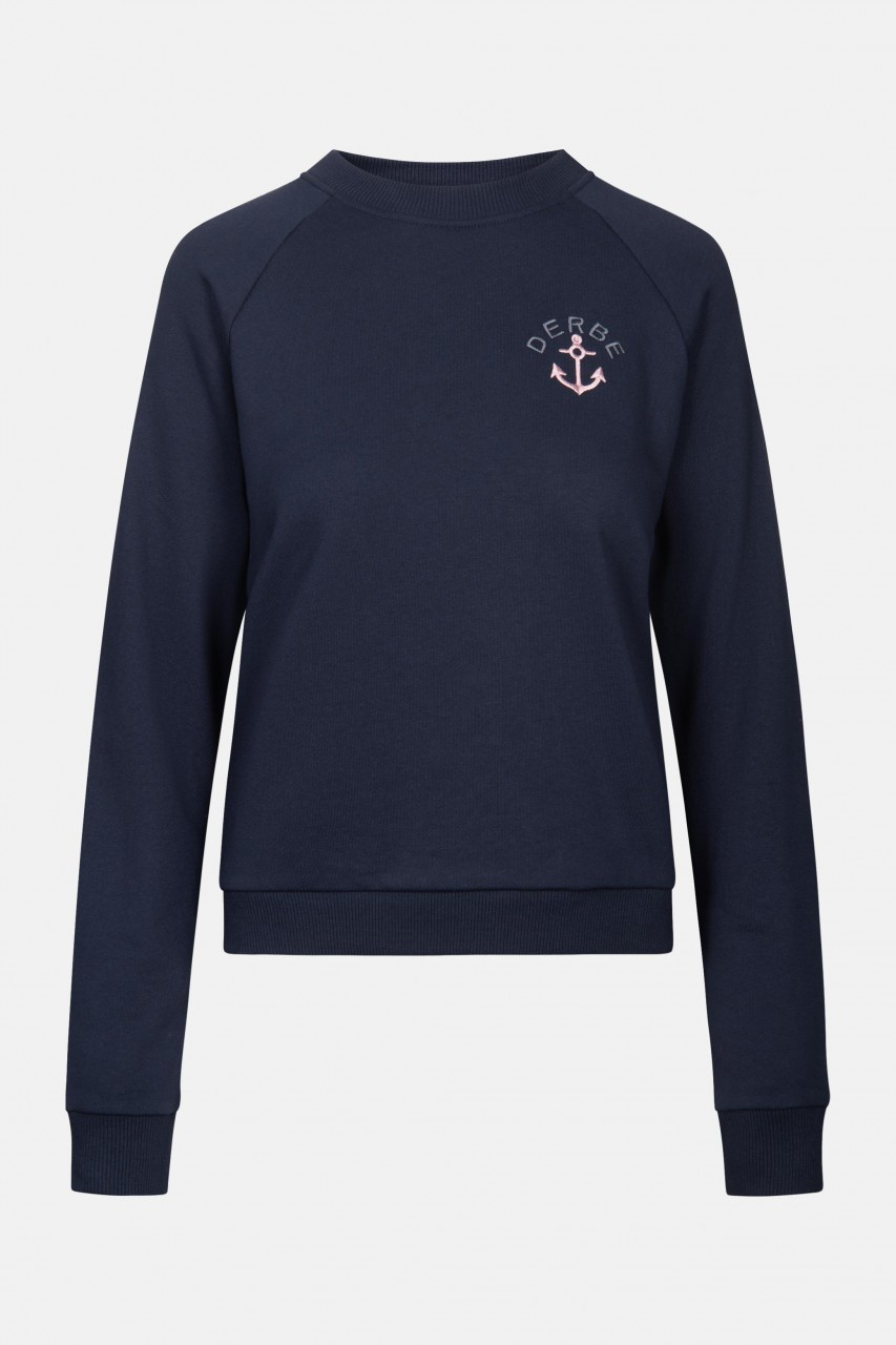 Derbe Leaf Crew Navy Damen Pullover Dunkelblau