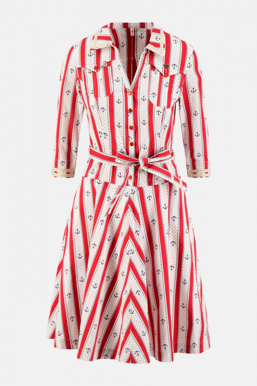 Blutsgeschwister Swinging Damen Kleid Anker Print weiß rot