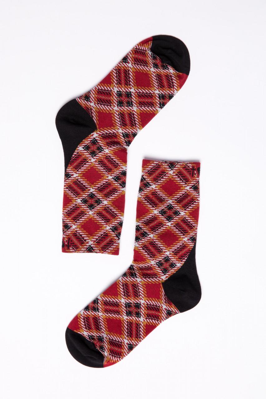 Blutsgeschwister Damen Socken Sensational Steps Classic Checky Rot