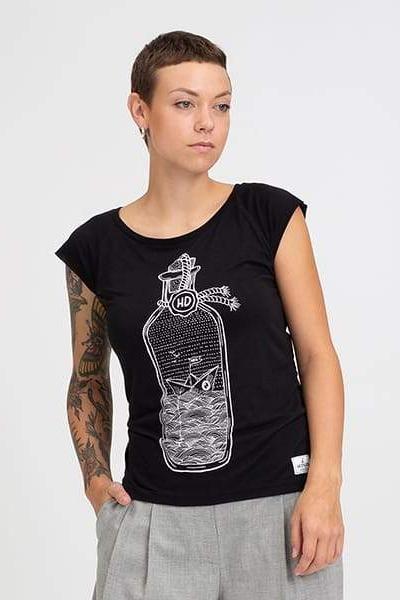 Hafendieb Buddelschiff Frauen Shirt Schwarz