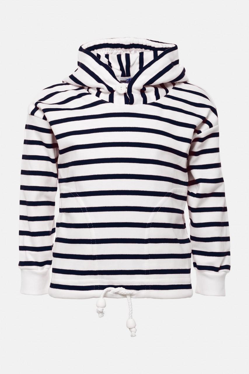 Bretonisches Kinder-Kapuzenshirt - weiss/blaugestreift