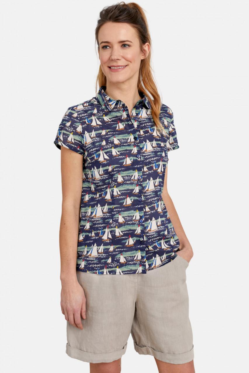 Seasalt Cornwall Rushmaker Shirt Lamorna Sail Waterline Damen Bluse Segelschiffe