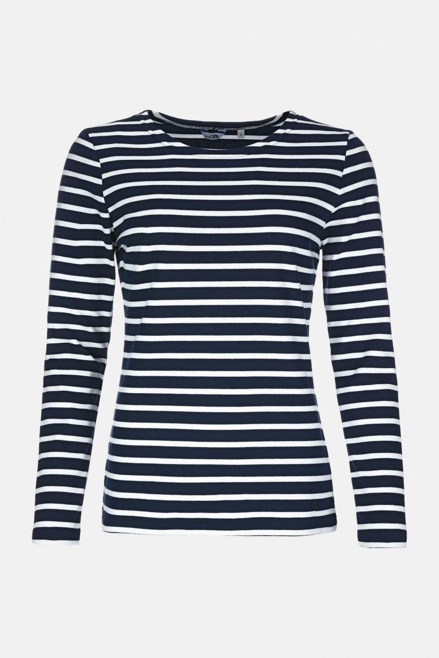 Streifenshirt Damen Langarm Blau-Weiß Gestreift Ringelshirt