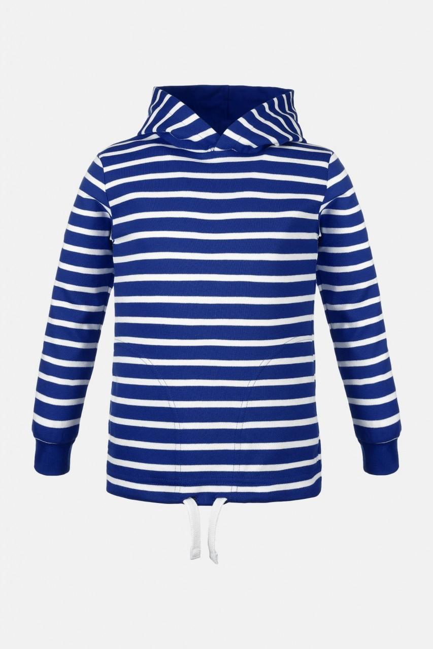 Kinder Kapuzenshirt Royal-Blau Weiss Gestreift Streifenshirt