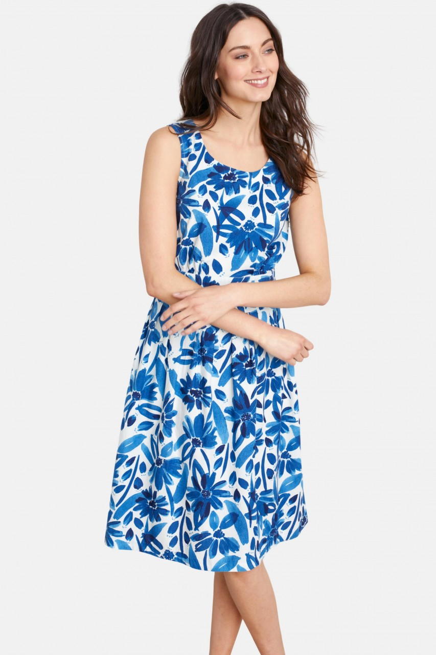 Seasalt Cornwall Seamstress Dress Watercolour Floral Blumen Blau