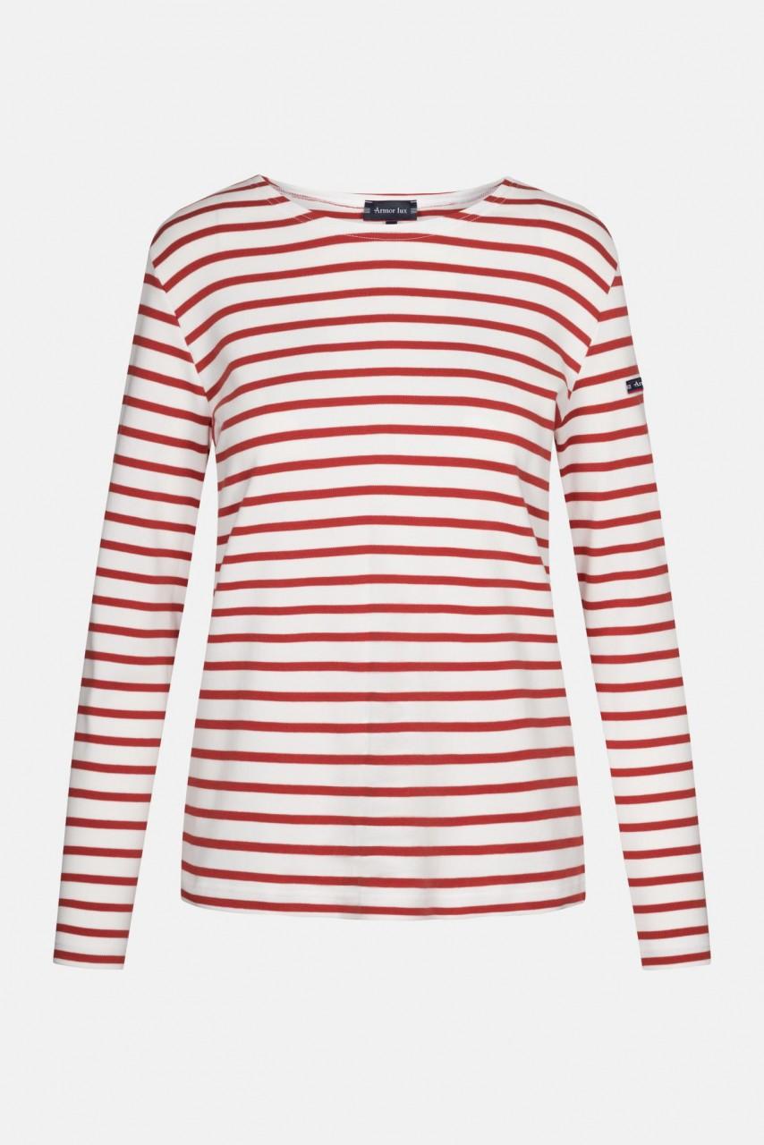 Armor Lux Streifenshirt Lesconil Creme Rot Gestreift Damen Mariniere
