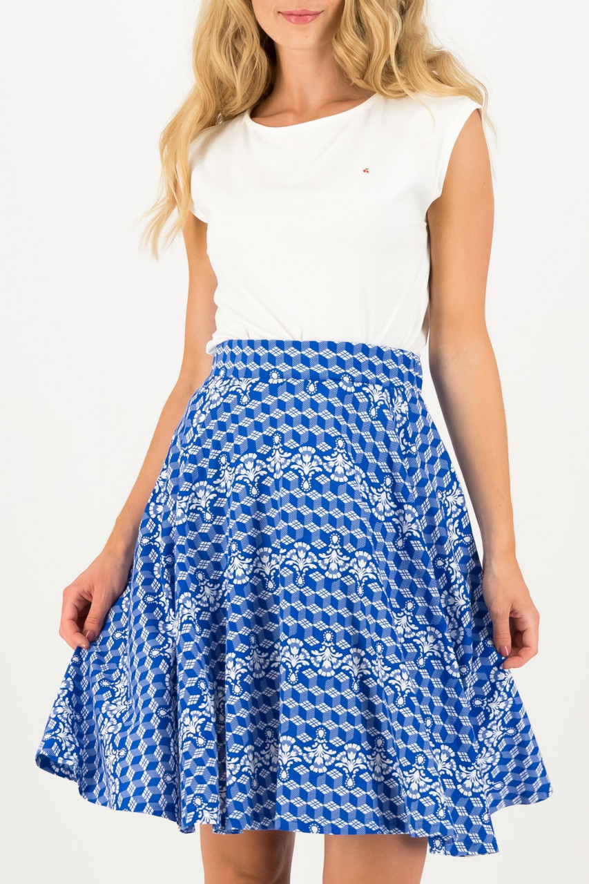 Blutsgeschwister Rock Delft Fullmoon Circle Skirt Dutch Blau Weiß