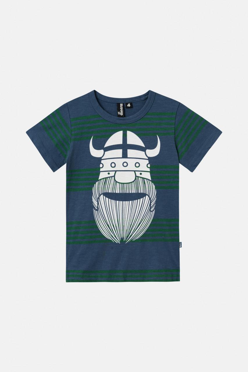 Danefae Sloppy Joe Kinder T-Shirt Wikinger Blau Grün Gestreift