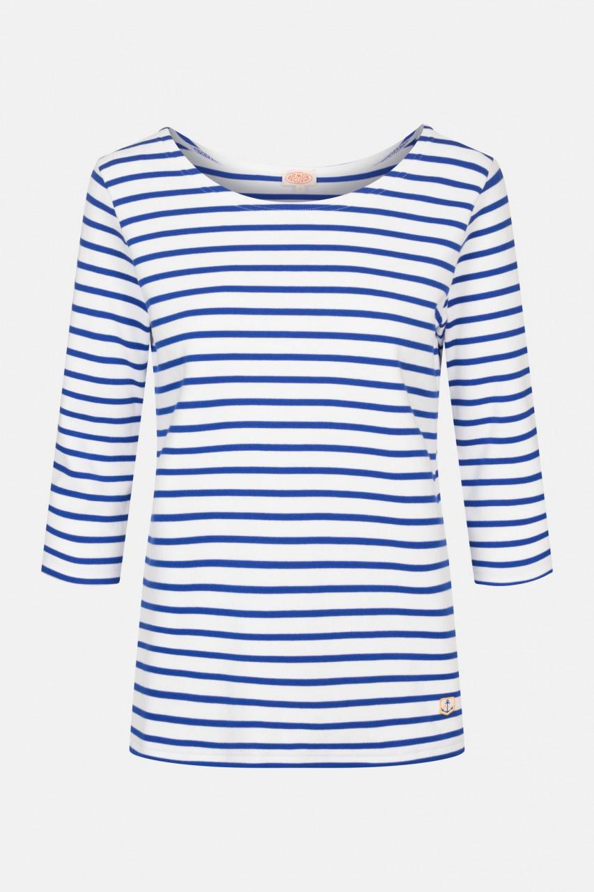 Armor Lux Damen Streifenshirt Guérande 3/4-Arm Weiß Sternblau
