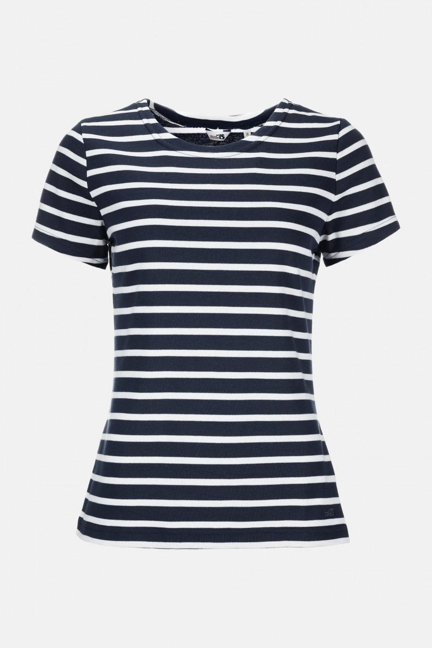 Streifenshirt Damen Kurzarm Blau-Weiß Gestreift Ringelshirt