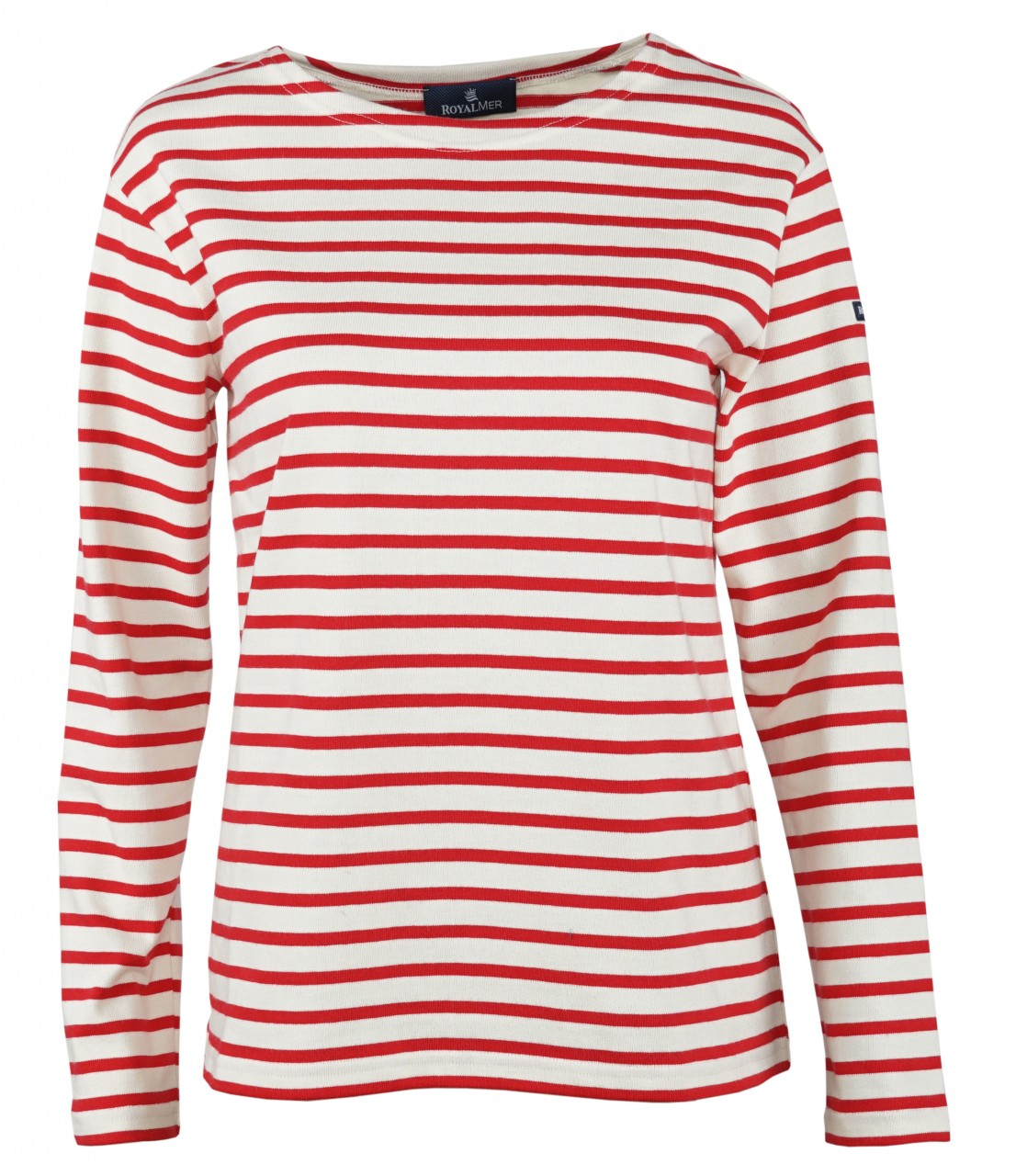 Royal Mer Streifenshirt Damen Ecru Rot Langarm