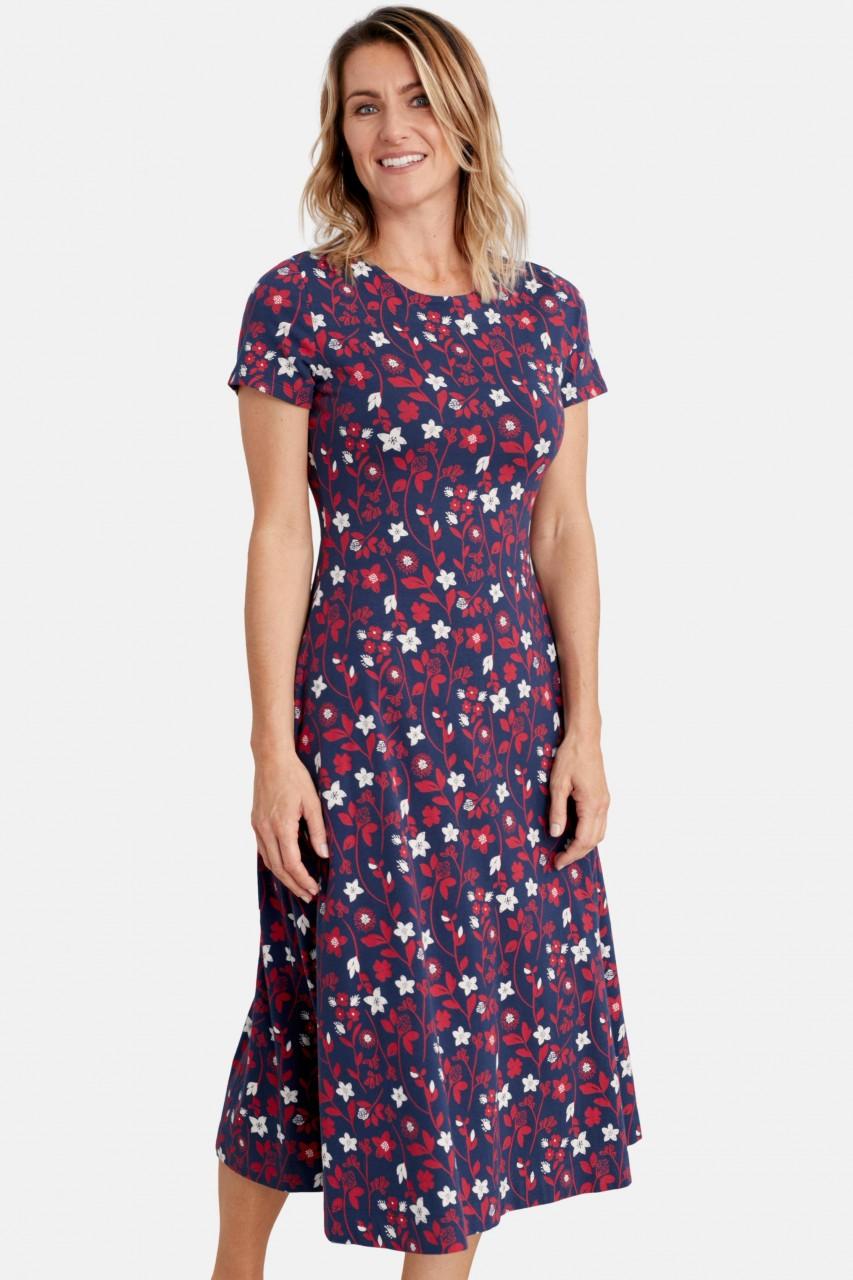 Seasalt Cornwall Abbey View Dress Summer Meadow Harbour Damen Kleid Blumen Blau Rot