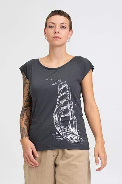 Hafendieb Schiff Frauen T-Shirt Grau charcoal