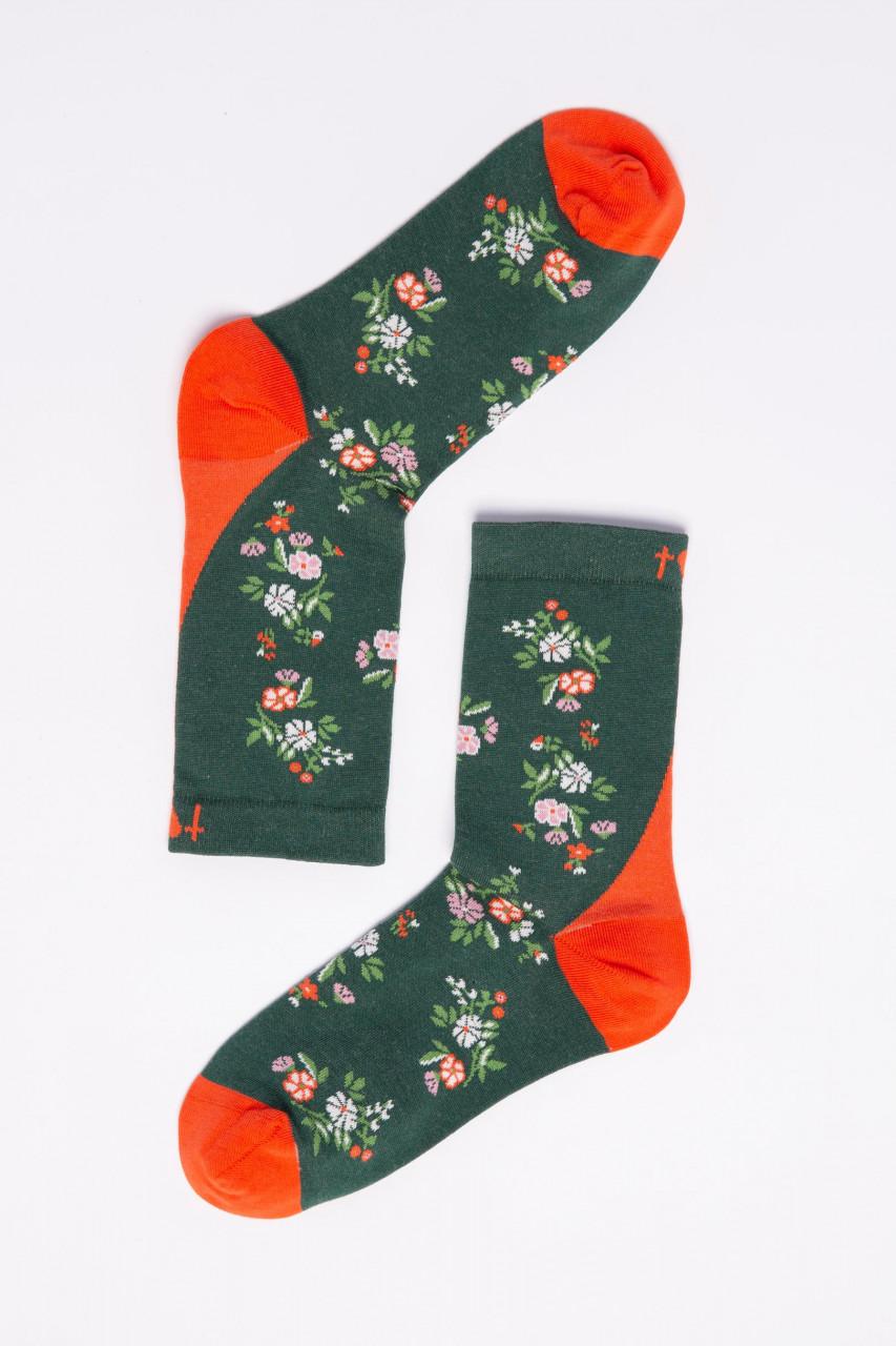 Blutsgeschwister Damen Socken Sensational Steps Flower Feet Blumen Grün