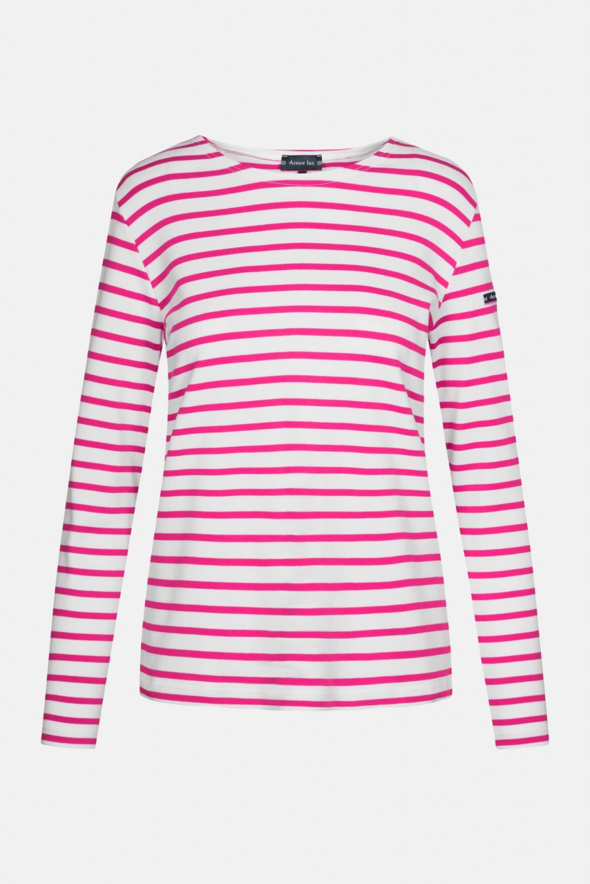 Armor Lux Lesconil Damen Streifenshirt Weiß Azalea Pink