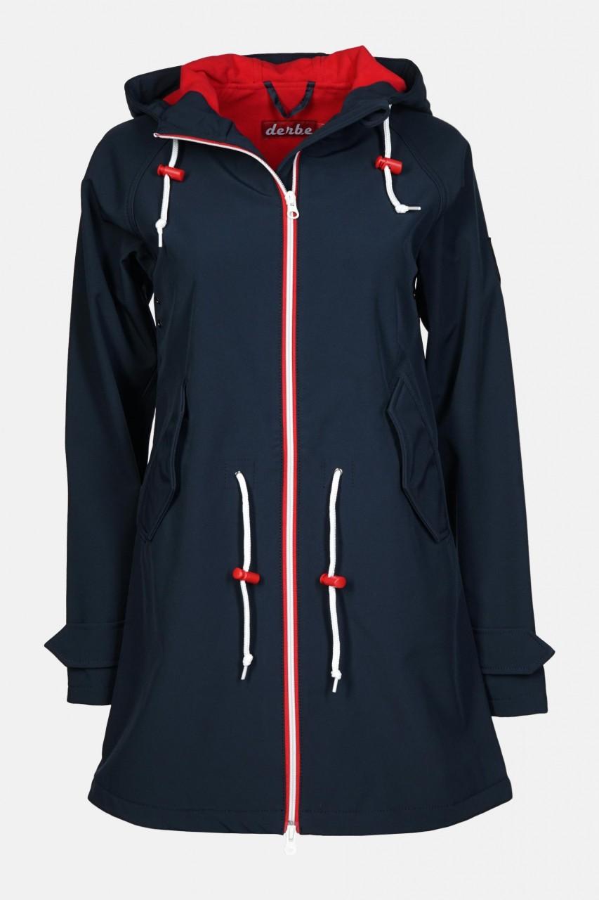 Derbe Island Friese Damen Softshell Mantel Blau Rot