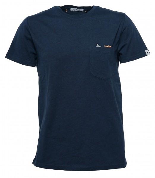 62d7c2c9bce8f7 RVLT Revolution Herren T-Shirt Dunkelblau Melange Schwimmer ...