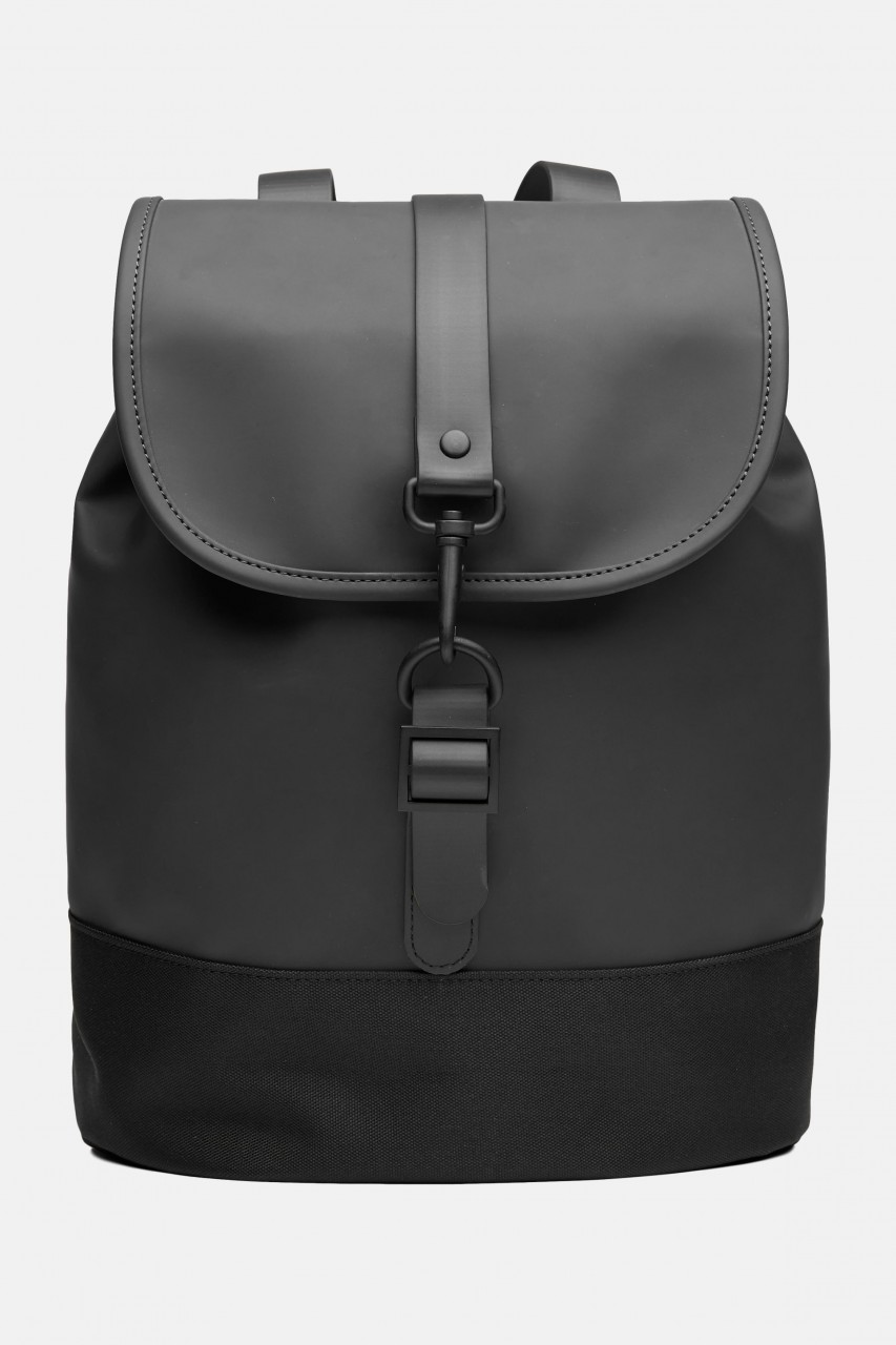 Rains Rucksack Klein Schwarz Drawstring Backpack Black