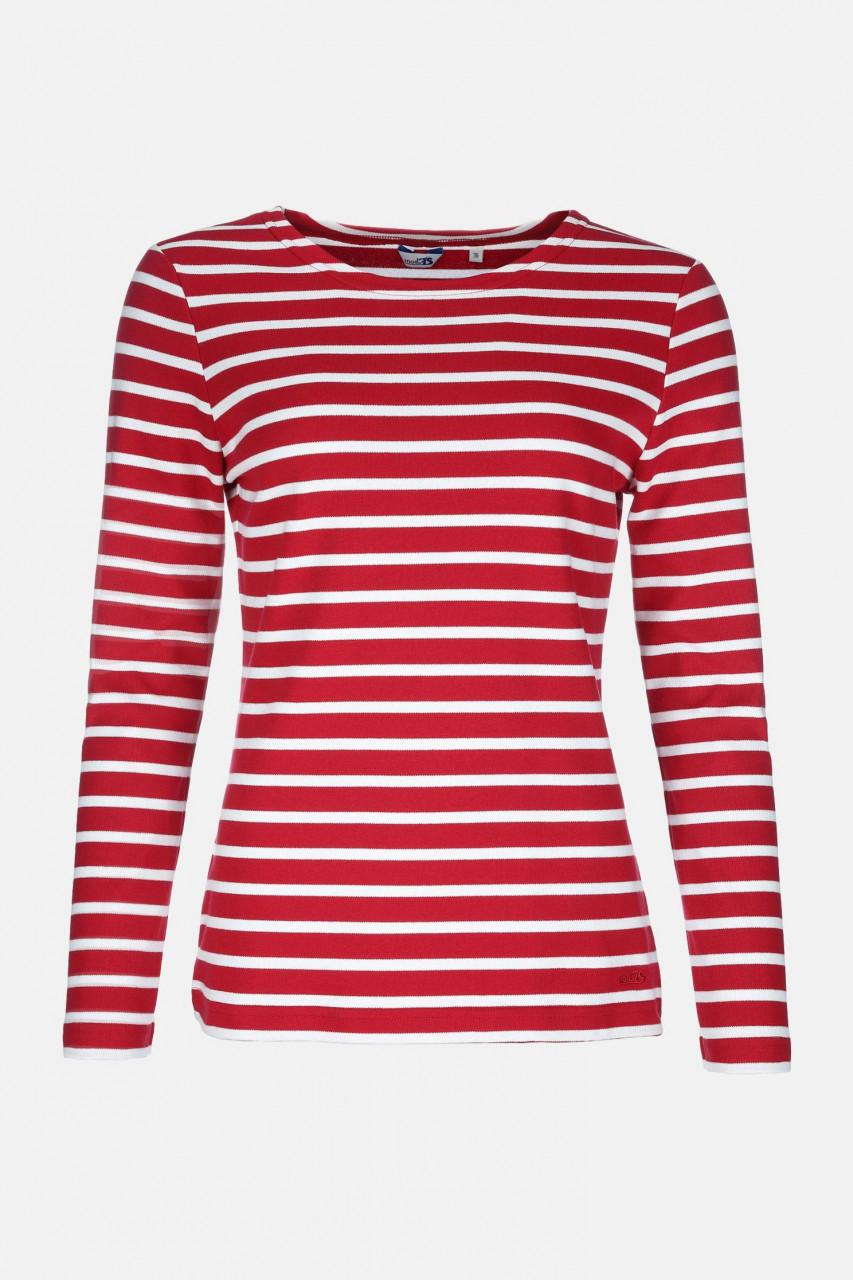 Streifenshirt Damen Langarm Rot-Weiß gestreift Ringelshirt