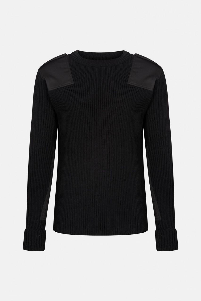 Elbe Troyer Uniform Pullover Rippstrick Schwarz